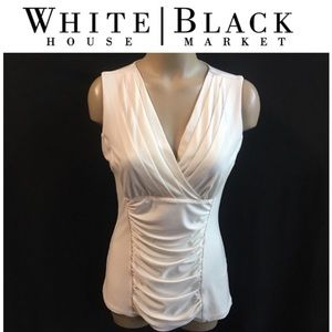 WHBM White Surplice Drape Wrap Sleeveless Top S